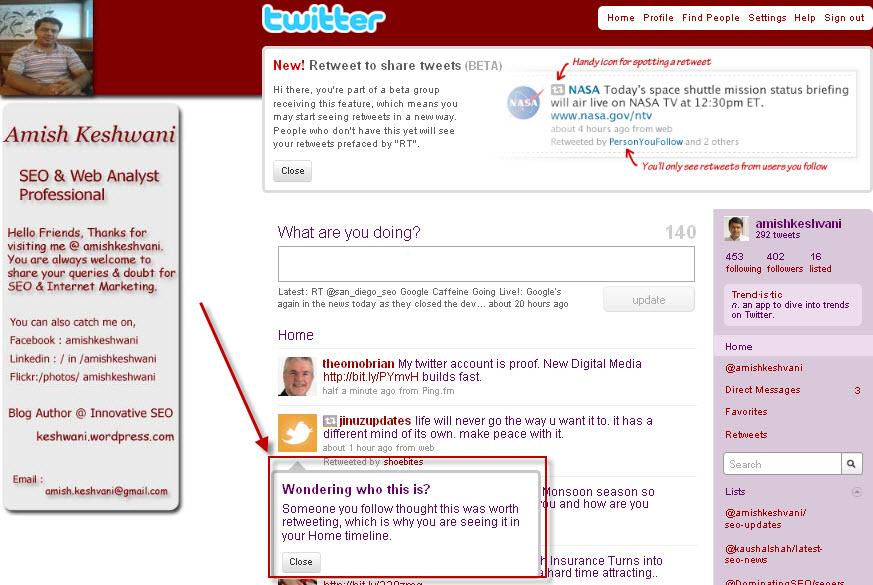 Re-Tweet Update in twitter profile