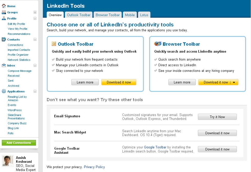 LinkedIn tools for marketing