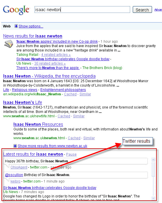 Twitter live feed integrated in Google SERP